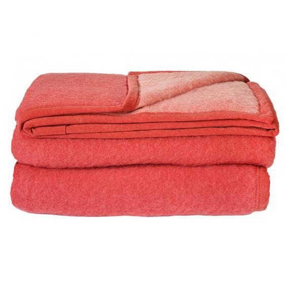 Couverture pure laine vierge Woolmark 600g/m² CYBELE 240x260cm rouge Bois de rose