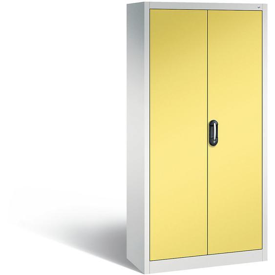 CP Armoire de bureau ACURADO, l x p 930 x 400 mm gris clair / jaune soufre - Coloris corps: gris clair RAL 7035 - CERTEO