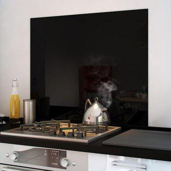 Crédence cuisine fond de hotte verre brillant - Noir 90cm de large