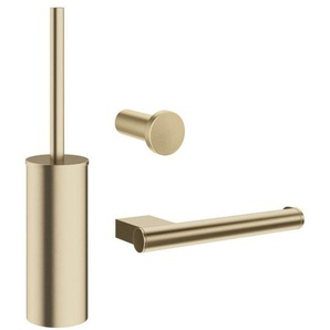 Crosswater MPRO set de toilette avec un crochet porte brosse de toilette et porte rouleau de toilette laiton brossé PRO021F