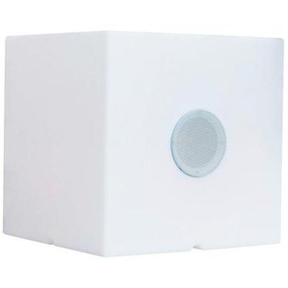 Cube lumineux enceinte bluetooth sans fil LED blanc/multicolore dimmable CARRY PLAY 40cm avec télécommande