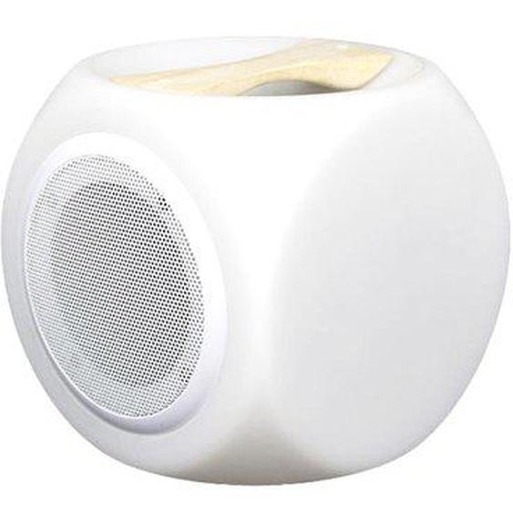 Cube lumineux enceinte bluetooth sans fil poignée bois LED blanc/multicolore dimmable CUBY PLAY 18cm avec télécommande