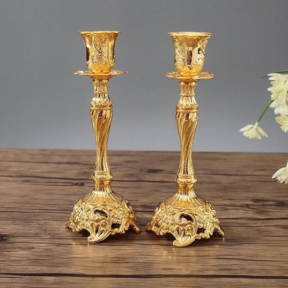 Deux Pcs / Set Sapphire Single Candle Light Dîner Bougeoir Décoration De Mariagetaille 7.6x7.6x18.8cm Or