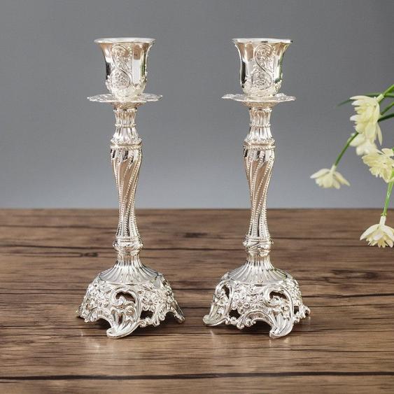 Deux Pcs / Set Sapphire Single Candle Light Dinner Holder Decoration Wedding Holdertaille 7.6x7.6x18.8cm Argent