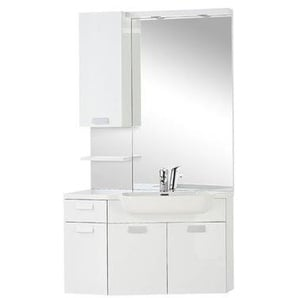 Differnz Fabulous Set de meubles avec miroir 100cm plan lavabo polybéton pour 1 lavabo avec poignée standard blanc 36.702.23