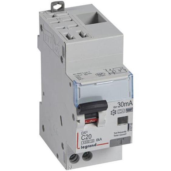 Disjoncteur différentiel DX4500 arrivée haute automatique et départ bas à vis U+N 230V~ 20A typeF 30mA 2 modules (410762) - LEGRAND