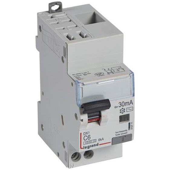 Disjoncteur différentiel DX4500 arrivée haute automatique et départ bas à vis U+N 230V~ 6A typeAC 30mA 2 modules (410711) - LEGRAND