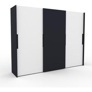 Dressing - Blanc/Anthracite, design, armoire penderie pour chambre ou entrée, haut de gamme, avec portes coulissantes - 304 x 233 x 65 cm, modulable