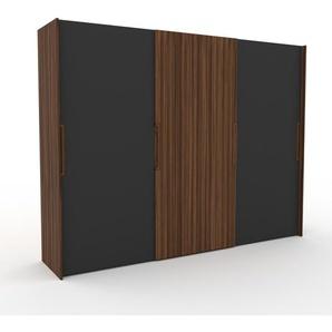 Dressing - Anthracite/Noyer, design, armoire penderie pour chambre ou entrée, haut de gamme, avec portes coulissantes - 304 x 233 x 65 cm, modulable