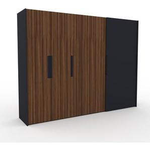 Dressing - Noyer/Anthracite, design, armoire penderie pour chambre ou entrée, haut de gamme, avec portes coulissantes - 304 x 233 x 65 cm, modulable