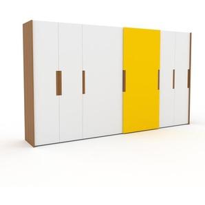 Dressing - blanc/jaune, design, armoire penderie pour chambre ou entrée, haut de gamme, avec portes coulissantes - 404 x 233 x 65 cm, modulable