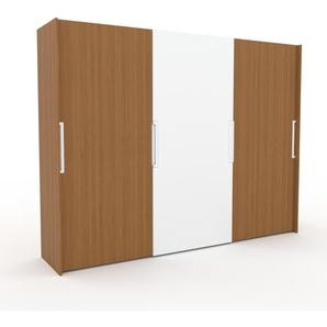 Dressing - Chêne/Blanc, design, armoire penderie pour chambre ou entrée, haut de gamme, avec portes coulissantes - 304 x 233 x 65 cm, modulable