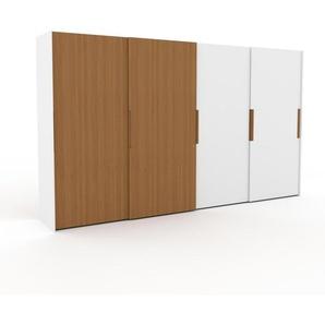 Dressing - Chêne/Blanc, design, armoire penderie pour chambre ou entrée, haut de gamme, avec portes coulissantes - 404 x 233 x 65 cm, modulable