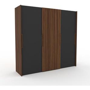 Dressing - anthracite/noyer, design, armoire penderie pour chambre ou entrée, haut de gamme, avec portes coulissantes - 244 x 233 x 65 cm, modulable