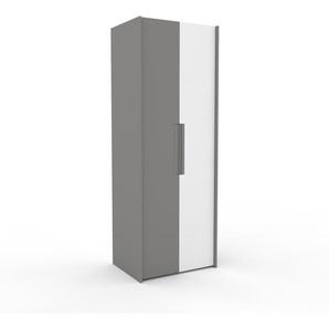 Dressing - Gris/Blanc, design, armoire penderie pour chambre ou entrée, à portes battantes - 84 x 233 x 62 cm, modulable