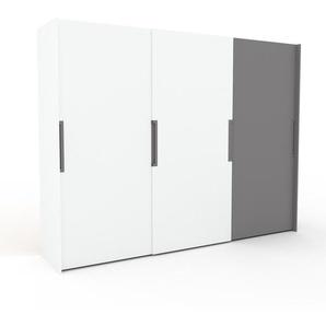 Dressing - Blanc/Gris, design, armoire penderie pour chambre ou entrée, haut de gamme, avec portes coulissantes - 304 x 233 x 65 cm, modulable
