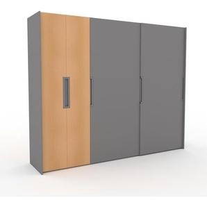 Dressing - Gris, design, armoire penderie pour chambre ou entrée, haut de gamme, avec portes coulissantes - 284 x 233 x 65 cm, modulable