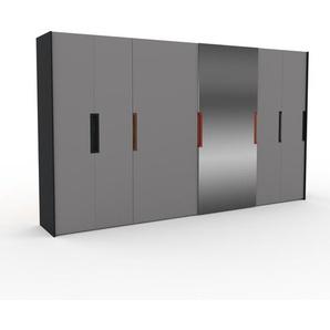 Dressing - Gris/Miroir, design, armoire penderie pour chambre ou entrée, haut de gamme, avec portes coulissantes - 404 x 233 x 65 cm, modulable