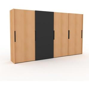 Dressing - Hêtre/Anthracite, design, armoire penderie pour chambre ou entrée, haut de gamme, avec portes coulissantes - 404 x 233 x 65 cm, modulable