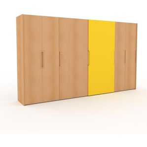 Dressing - Hêtre/Jaune, design, armoire penderie pour chambre ou entrée, haut de gamme, avec portes coulissantes - 404 x 233 x 65 cm, modulable