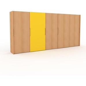 Dressing - Hêtre/Jaune, design, armoire penderie pour chambre ou entrée, haut de gamme, avec portes coulissantes - 504 x 233 x 65 cm, modulable