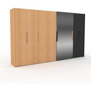 Dressing - Hêtre/Miroir, design, armoire penderie pour chambre ou entrée, haut de gamme, avec portes coulissantes - 384 x 233 x 65 cm, modulable