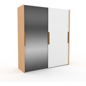 Dressing - Miroir/Blanc, design, armoire penderie pour chambre ou entrée, haut de gamme, avec portes coulissantes - 204 x 233 x 65 cm, modulable