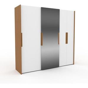 Dressing - Blanc/Miroir, design, armoire penderie pour chambre ou entrée, haut de gamme, avec portes coulissantes - 244 x 233 x 65 cm, modulable