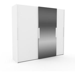 Dressing - Blanc/Miroir, design, armoire penderie pour chambre ou entrée, haut de gamme, avec portes coulissantes - 254 x 233 x 65 cm, modulable