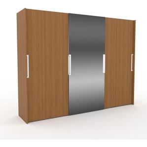 Dressing - Chêne/Miroir, design, armoire penderie pour chambre ou entrée, haut de gamme, avec portes coulissantes - 304 x 233 x 65 cm, modulable