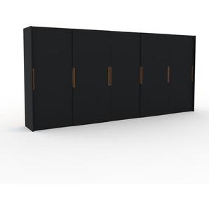 Dressing - Noir, design, armoire penderie pour chambre ou entrée, haut de gamme, avec portes coulissantes - 504 x 233 x 65 cm, modulable