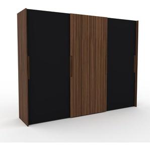 Dressing - Noir/Noyer, design, armoire penderie pour chambre ou entrée, haut de gamme, avec portes coulissantes - 304 x 233 x 65 cm, modulable