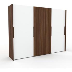 Dressing - Blanc/Noyer, design, armoire penderie pour chambre ou entrée, haut de gamme, avec portes coulissantes - 304 x 233 x 65 cm, modulable
