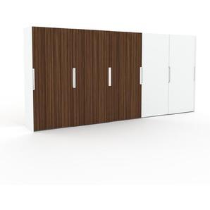 Dressing - Noyer/Blanc, design, armoire penderie pour chambre ou entrée, haut de gamme, avec portes coulissantes - 504 x 233 x 65 cm, modulable
