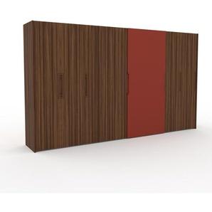 Dressing - Noyer/Rouge, design, armoire penderie pour chambre ou entrée, haut de gamme, avec portes coulissantes - 404 x 233 x 65 cm, modulable