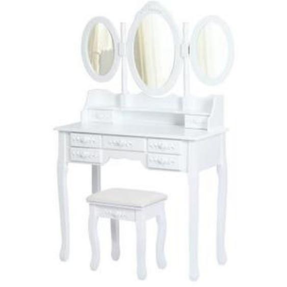 ELLA Coiffeuse en bois paulownia blanc + 1 tabouret - Style classique - L 90 cm