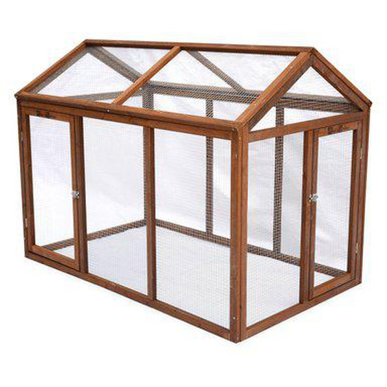Enclos pour poulailler en bois CHABO, 6 poules, parc grillagé pour poules, extension