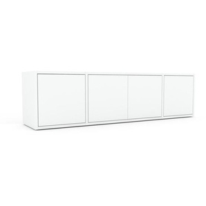 Enfilade - Blanc, modèle de caractère, buffet, avec porte Blanc - 154 x 41 x 35 cm, modulable