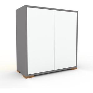Enfilade - Gris, modèle de caractère, buffet, avec porte Blanc - 77 x 81 x 35 cm, modulable