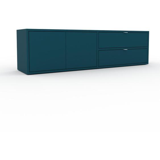 Enfilade - Bleu pétrole, design, buffet, avec porte Bleu pétrole et tiroir Bleu pétrole - 152 x 41 x 35 cm