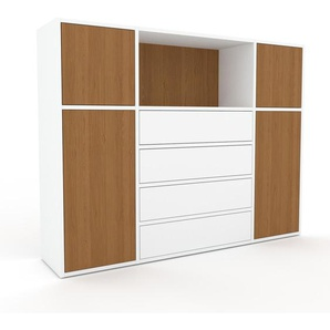 Enfilade - blanc, design, buffet, avec porte chêne et tiroir blanc - 154 x 118 x 35 cm