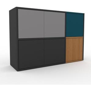 Enfilade - anthracite, modèle de caractère, buffet, avec porte gris - 116 x 80 x 35 cm, modulable