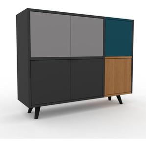 Enfilade - anthracite, modèle de caractère, buffet, avec porte anthracite - 116 x 91 x 35 cm, modulable