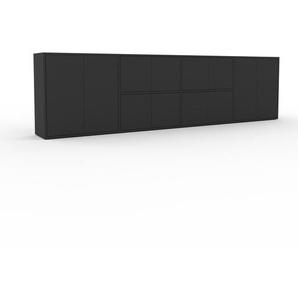 Enfilade - anthracite, modèle de caractère, buffet, avec porte anthracite - 301 x 80 x 35 cm, modulable