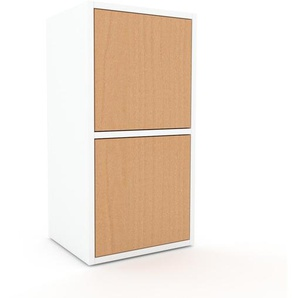 Enfilade - blanc, modèle de caractère, buffet, avec porte hêtre - 41 x 80 x 35 cm, modulable
