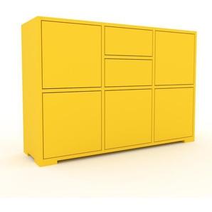 Enfilade - jaune, design, buffet, avec porte jaune et tiroir jaune - 118 x 81 x 35 cm