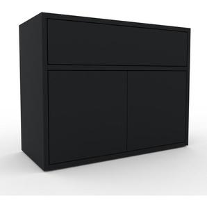 Enfilade - noir, design, buffet, avec porte noir et tiroir noir - 77 x 61 x 35 cm