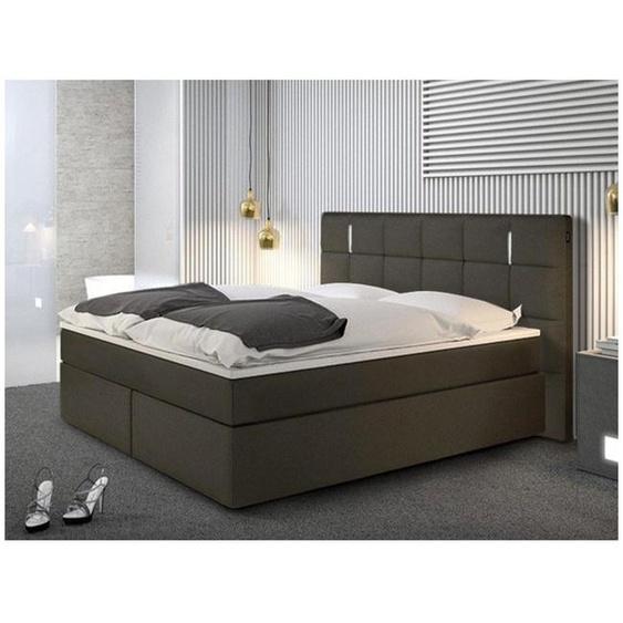 Ensemble boxspring complet tête de lit avec Leds + sommiers + matelas + surmatelas BILBAO - 160 x 200 cm - simili - Anthracite