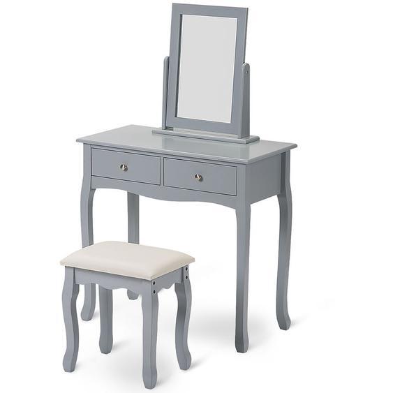 Ensemble de coiffeuse avec miroir et tabouret Maquillage Bureau commode Chambre grise B2B02574 - HOMMOO