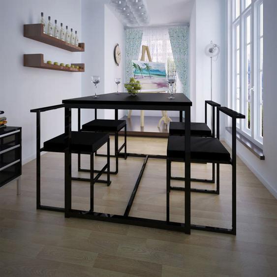 Ensemble de table et de chaises de salle à manger 5 pièces Noir